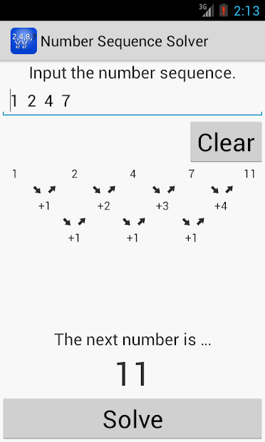 Number Sequence Solver Screenshot